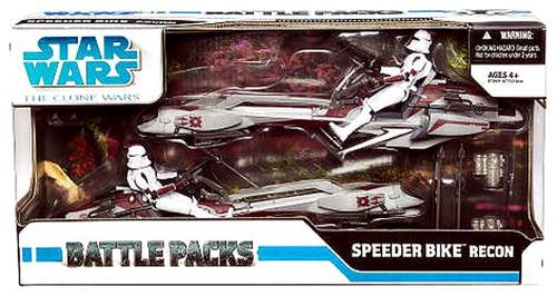 Star Wars The Clone Wars Battle Packs 2009 Speeder Bike Recon Exclusive Action Figure Set