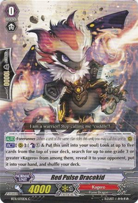 Cardfight Vanguard Seal Dragons Unleashed Common Red Pulse Dracokid BT11/070