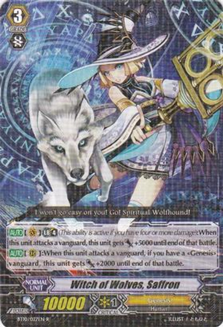 Cardfight Vanguard Triumphant Return of the King of Knights Rare Witch of Wolves, Saffron BT10/027