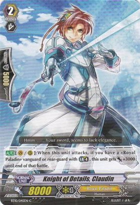 Cardfight Vanguard Triumphant Return of the King of Knights Common Knight of Details, Claudin BT10/045