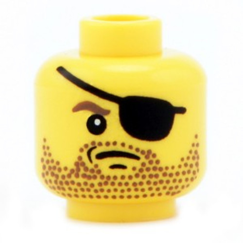 Citizen Brick Custom Printed Minifigure Parts Yellow Male with Stubble & Eyepatch Loose Head [Loose]