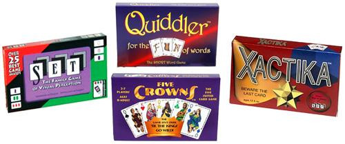 Five Crowns, Set Quiddler & Xactika Card Game 4-Pack