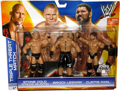 WWE Wrestling Stone Cold Steve Austin, Brock Lesnar & Curtis Axel Exclusive Action Figure 3-Pack [Triple Threat Match]