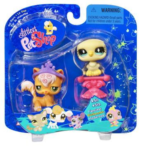 Littlest Pet Shop Pet Pairs Orange Cat & Yellow Dove Figure 2-Pack