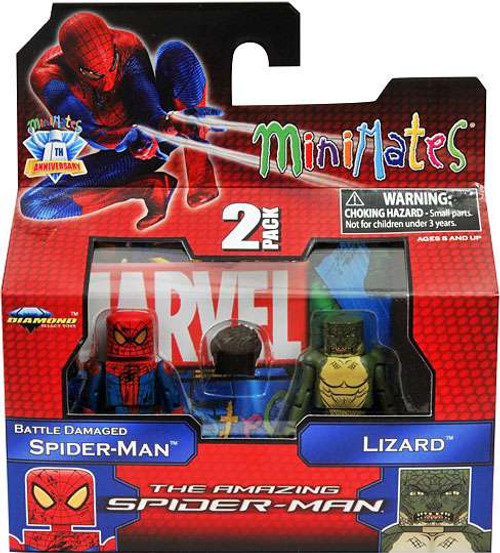The Amazing Spider-Man Minimates Series 46 Battle Damaged Spider-Man & Lizard Minifigure 2-Pack