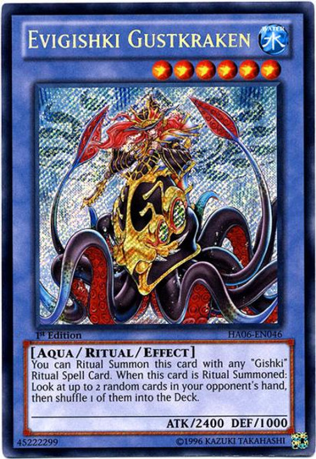 YuGiOh Zexal Hidden Arsenal 6: Omega XYZ Secret Rare Evigishki Gustkraken HA06-EN046