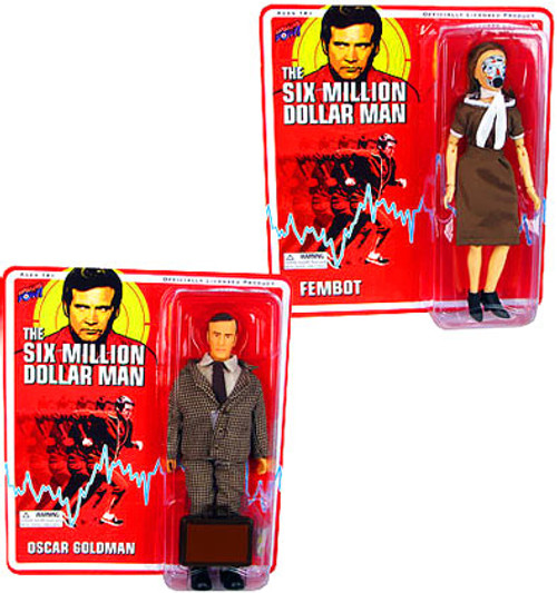 The Six Million Dollar Man Oscar Goldman & Fembot Action Figures