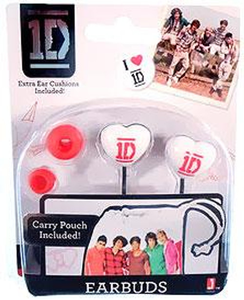 One Direction 1D Pink & White Earbuds