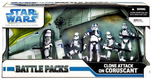 Star Wars The Clone Wars Battle Packs 2008 Legacy Collection Clone Attack On Coruscant Exclusive Action Figure Set