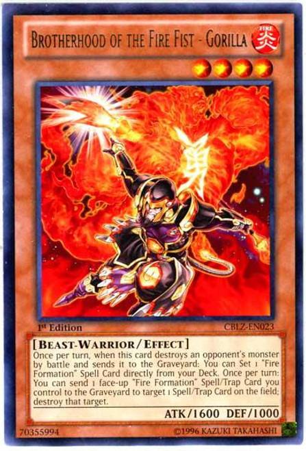 YuGiOh Zexal Cosmo Blazer Rare Brotherhood of the Fire Fist - Gorilla CBLZ-EN023