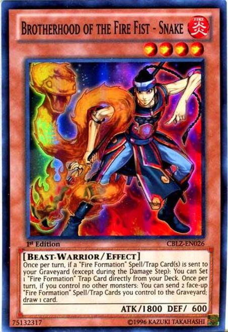 YuGiOh Zexal Cosmo Blazer Super Rare Brotherhood of the Fire Fist - Snake CBLZ-EN026
