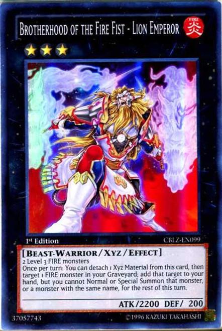 YuGiOh Zexal Cosmo Blazer Super Rare Brotherhood of the Fire Fist - Lion Emperor CBLZ-EN099