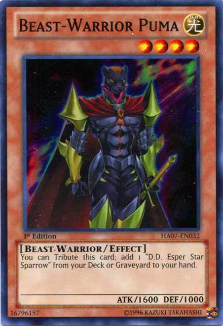 YuGiOh Zexal Hidden Arsenal 7: Knight of Stars Super Rare Beast-Warrior Puma HA07-EN032