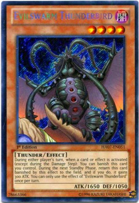YuGiOh Zexal Hidden Arsenal 7: Knight of Stars Secret Rare Evilswarm Thunderbird HA07-EN051