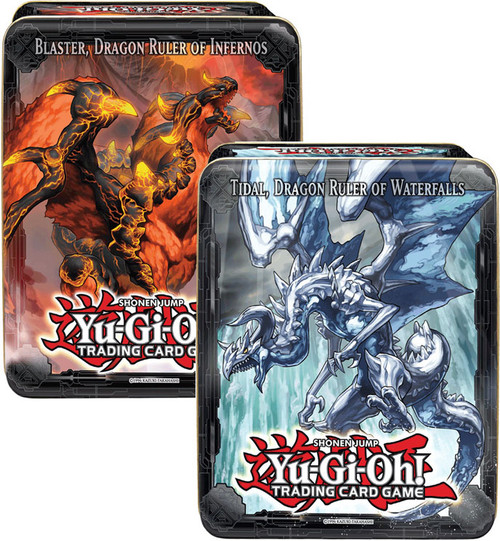 YuGiOh 2013 Collector Tin Blaster Dragon Ruler of Infernos & Tidal Dragon Ruler of Waterfalls Collector Tins [Sealed]