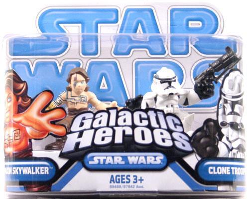 Star Wars Expanded Universe Galactic Heroes 2009 Tattooed Anakin Skywalker & Clone Trooper Mini Figure 2-Pack