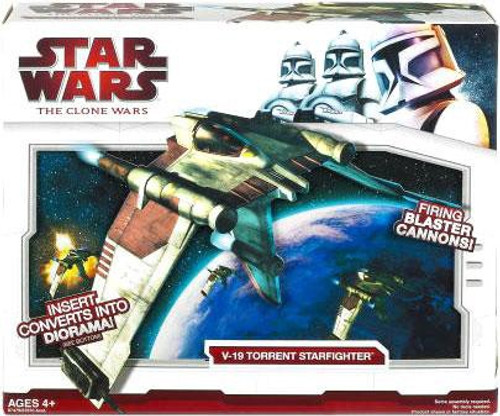 Star Wars The Clone Wars Vehicles 2009 V-19 Torrent Starfighter Action Figure Vehicle