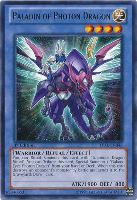 YuGiOh Zexal Legacy of the Valiant Rare Paladin of Photon Dragon LVAL-EN045