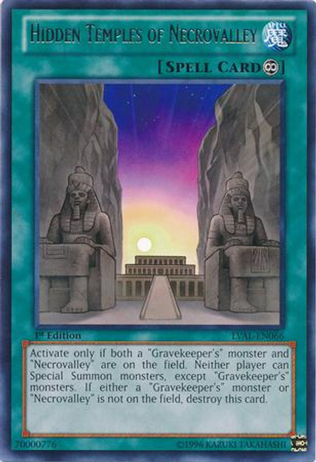 YuGiOh Zexal Legacy of the Valiant Rare Hidden Temples of Necrovalley LVAL-EN066