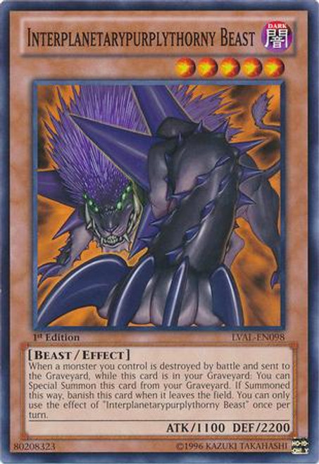 YuGiOh Zexal Legacy of the Valiant Common Interplanetarypurplythorny Beast LVAL-EN098