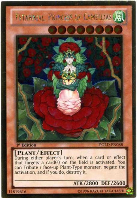 YuGiOh Premium Gold Gold Rare Tytannial, Princess of Camellias PGLD-EN088