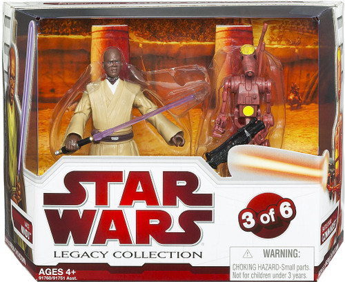 Star Wars Attack of the Clones Legacy Collection 2009 Geonosis Arena Showdown Mace Windu & Battle Droid Commander Exclusive Action Figure 2-Pack #3 of 6