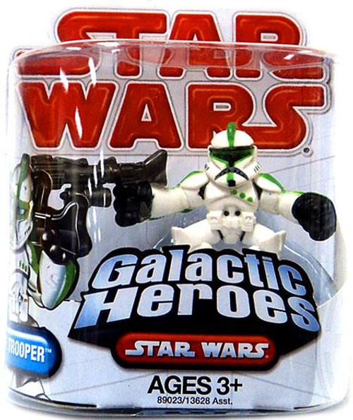 Star Wars Attack of the Clones Galactic Heroes 2009 Clone Trooper [Green Trim] Mini Figure