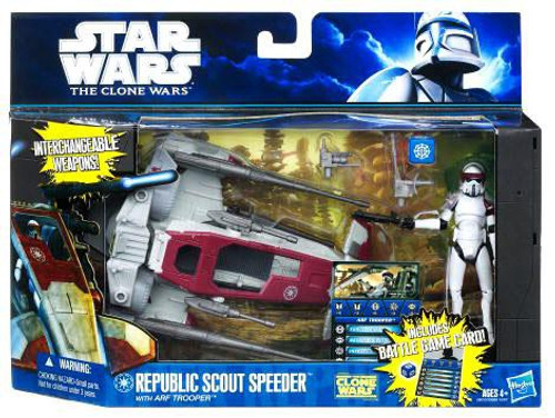 Star Wars The Clone Wars Vehicles & Action Figure Sets 2011 Republic Scout Speeder with ARF Trooper Action Figure Set