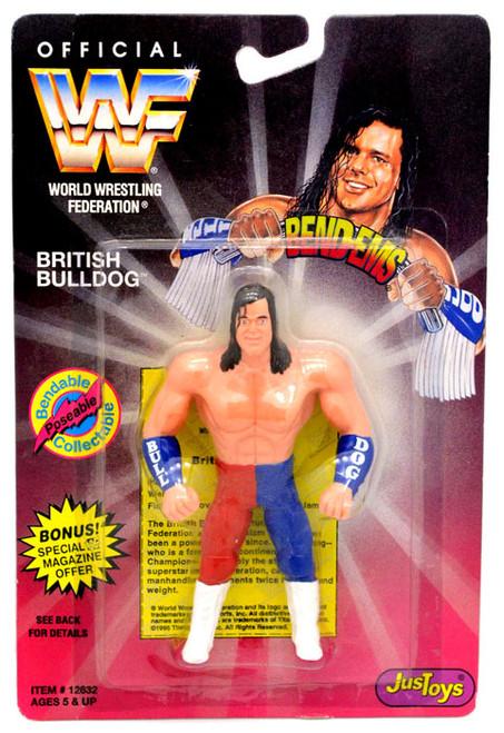 WWE Wrestling WWF Bend-Ems Series 1 British Bulldog Rubber Figure