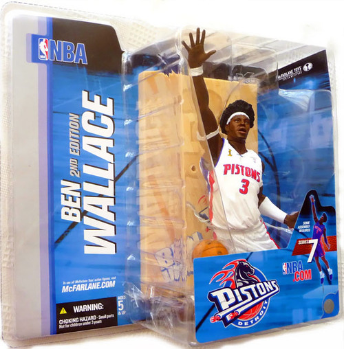 McFarlane Toys NBA Detroit Pistons Sports Picks Series 7 Ben Wallace Action Figure [White Jersey Afro Variant]