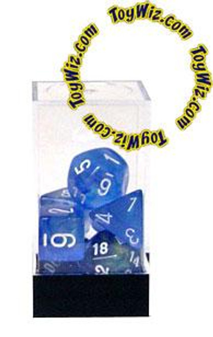 Chessex Borealis Polyhedral Dice [Sky Blue w/White]