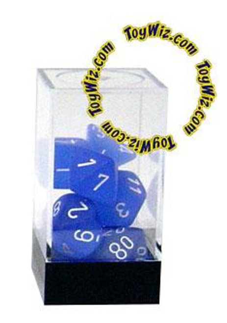 Chessex Frosted Polyhedral Dice [Blue w/White]