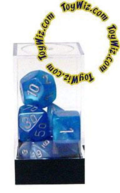 Chessex Velvet Polyhedral Dice [Bright Blue w/Silver]