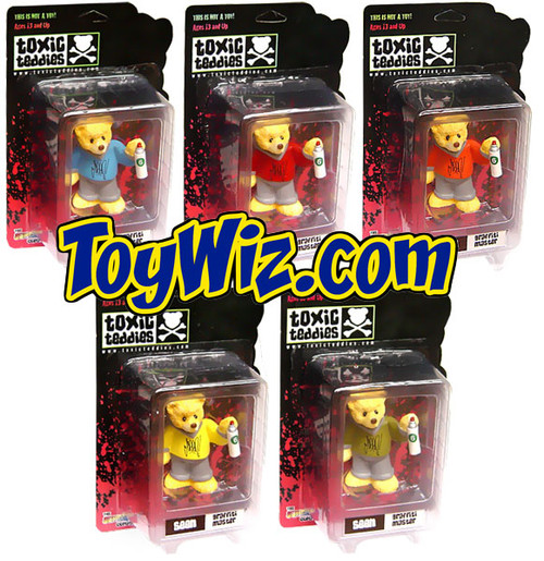 Toxic Teddies Set of 5 Seen Graffiti Mini FIgures