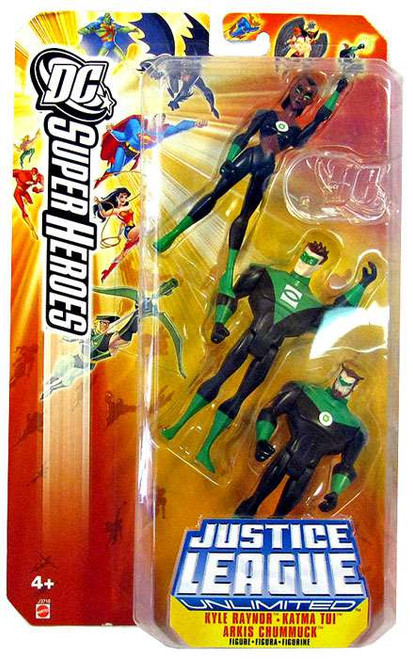DC Justice League Unlimited Super Heroes Kyle Raynor, Katma Tui & Arkis Chummuck Action Figure Set