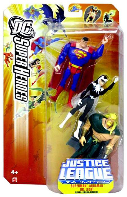 DC Justice League Unlimited Super Heroes Superman, Aquaman & Dr. Light Action Figures