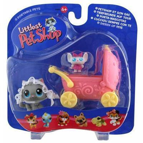 Littlest Pet Shop Portable Pets Cat Figure [Cozy Carriage]