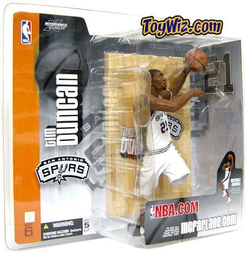 McFarlane Toys NBA San Antonio Spurs Sports Picks Series 6 Tim Duncan Action Figure [White Jersey]