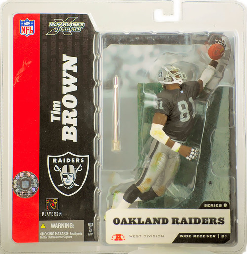 McFarlane Toys NFL Oakland Raiders Sports Picks Series 8 Tim Brown Action Figure [Black Jersey No Towel Variant]