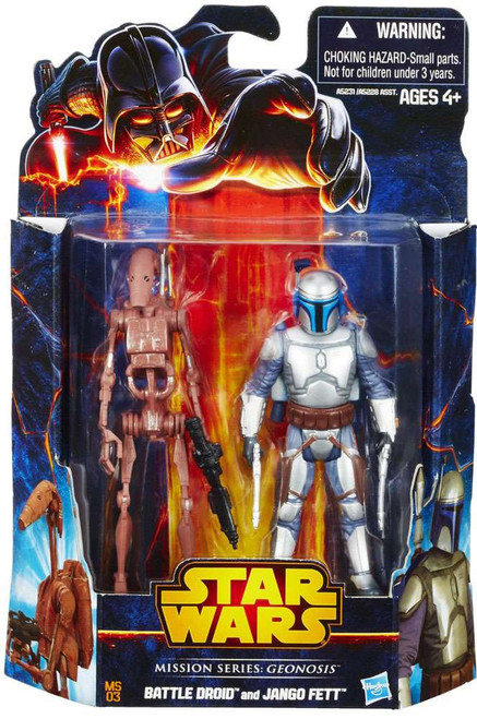 Star Wars Attack of the Clones Mission Series 2013 Battle Droid & Jango Fett Action Figure 2-Pack MS03 [Geonosis]