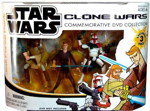 Star Wars The Clone Wars Clone Wars Cartoon Network Clone Wars Commemorative DVD Collection Exclusive Action Figure 3-Pack [Set #1]