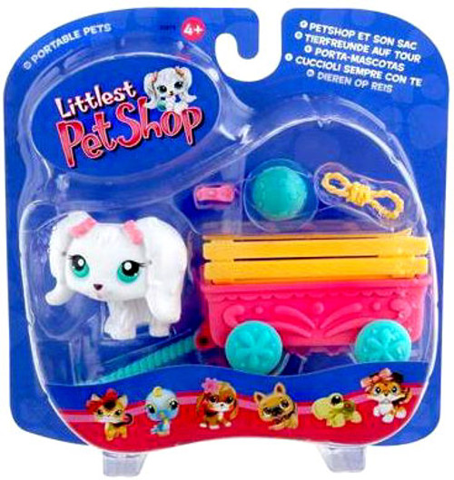 Littlest Pet Shop Portable Pets Puppy Dog Figure [White With Cute Wagon]