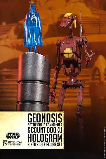 The Clone Wars Militaries of Star Wars Sixth Scale Geonosis Battle Droid Commander & Count Dooku Hologram 12 Inch Action Figure Set