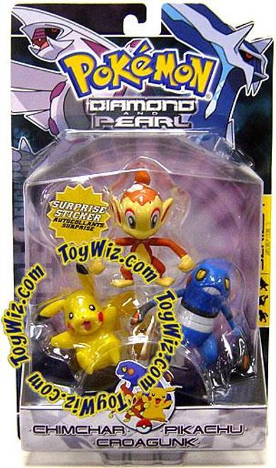 Pokemon Diamond & Pearl Series 1 Chimchar, Pikachu & Croagunk Figure 3-Pack