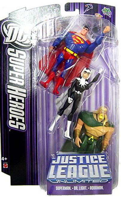 DC Justice League Unlimited Super Heroes Superman, Aquaman & Dr. Light Action Figures [Purple Card]
