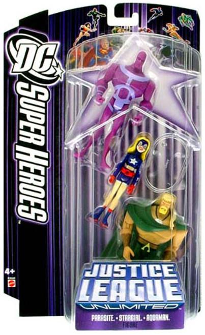 DC Justice League Unlimited Super Heroes Parasite, Stargirl & Aquaman Action Figures [Purple Card]