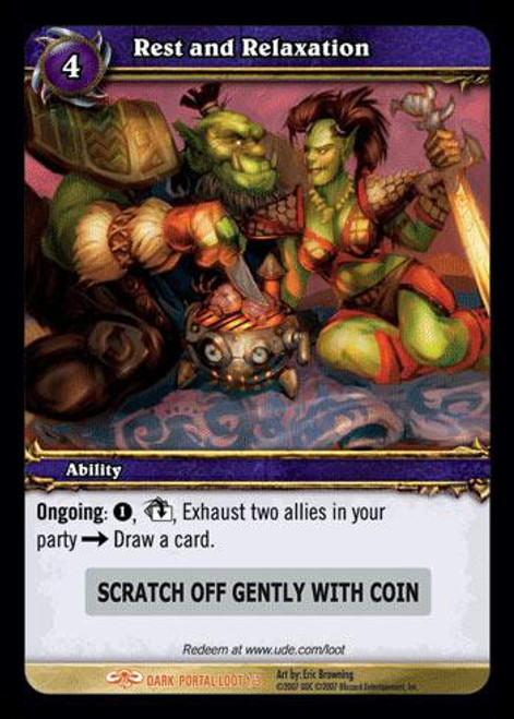 World of Warcraft Trading Card Game Dark Portal Legendary Loot Rest and Relaxation #1