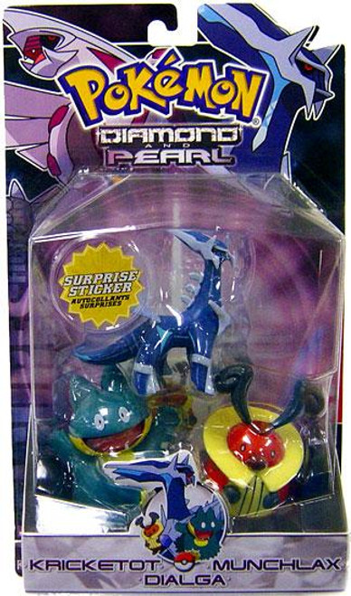 Pokemon Diamond & Pearl Series 2 Dialga, Munchlax & Kricketot Figure 3-Pack