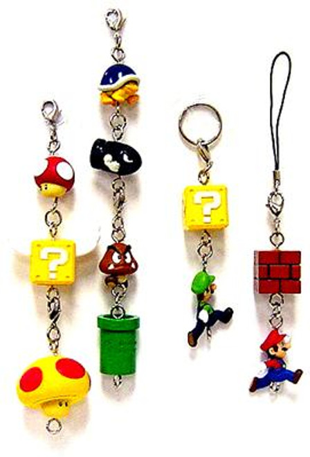 New Super Mario Bros Wii Phone Danglers Set of 11 Charm Keychains