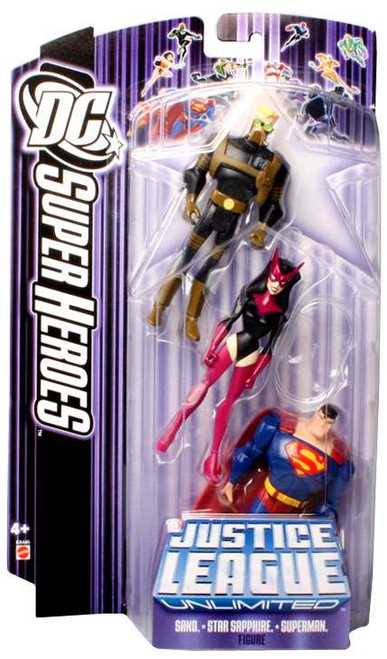 DC Justice League Unlimited Super Heroes Sand, Star Sapphire & Superman Action Figures